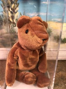 "ddc190b9758 Teddy ""Old Face"" – Brown Version. Ty Beanie Babies. Hang Tag Generation  2nd  Generation"